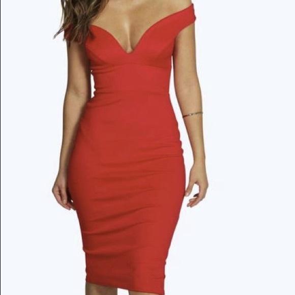 66d38a620d9aa Boohoo Dresses | New Skye Sweetheart Off Shoulder Bodycon Dress ...